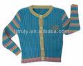 caramelo azul rayas de color de punto para niños chaqueta de punto para bebé niña