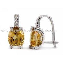 Citrine Diamond Huggie Hoop Earrings-Lab Certified Gemstone / Jewellery Manufacturers