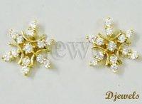 Natural Diamond Studded Earring , Diamond Alexia Ear Tops, Diamond Gold Ear Tops,
