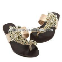 Silks & Satins Chiffon Rhinestone Toe-Covering Vintage Flat Slippers, Apricot (Size: 36)