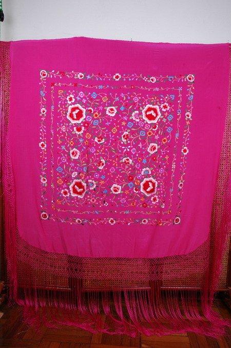100% de seda y bordado a mano español manton flamenco chal-Otras ...