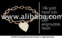 14K Gold Heart Rolo Bracelets w / Engravable Heart