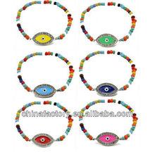 Factory Handmade Elastic Glass Bead Bracelet with Eye Evil Charm