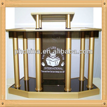An-c343 Factory Sell High Transparent Multimedia Podium/Acrylic Church Podiums/Stainless Steel Podium