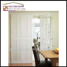 Wand tilt bar 89mm louver folding sliding interior wooden plantation shutters