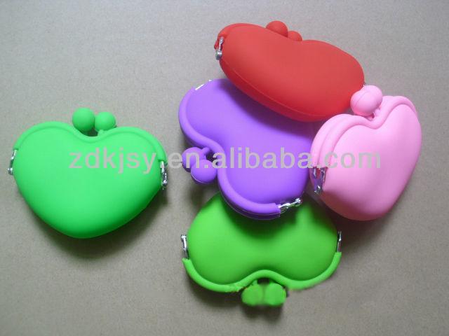 Silikon kalp şeklinde çanta sikke sikke depolanmasıiçin/Ruj/yüzük/şeker