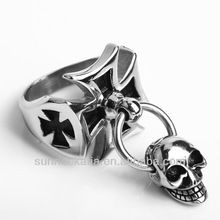 New Arrival Mens Silver Skull Links Cross Ring 316L Stainless Steel Jewelry Chain