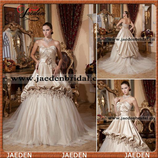 التصميم الفاخر jx0079 مطوي صد الشمبانيا فساتين الزفاف الملونة