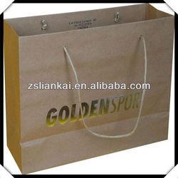 Custom printed brown kraft paper bag with gold stamping LOGO