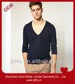 homens sexy do algodão camiseta de manga comprida