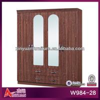 """W984-28 Antique 64"""" MDF Padauk lock big 4-door 4-drawer big hanging area Large wooden sliding door wardrobe armoire"""