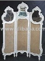 French Screen with Rattan and Mirror