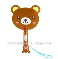 plastic mini hand-held electric cartoon bear figure fan for summer use