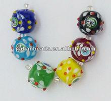 6pc loose glass bead wholesale murano bump millefiori eye dot multicolor lampwork round beaded strand