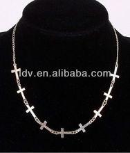 New Silver Gold Copper Tone Mini Cross Pendant Chain Necklace