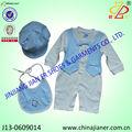 Los bebés de la made in china mameluco del bebé del bebé del babero y sombrero