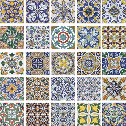 Delightful Colorful Kitchen Backsplash Tiles #5: Portuguese_decorative_repetitive_pattern_colored_tiles.jpg