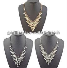 Godbead Ladies Gun Black/Silver Metal Multi Layers Crystal Tassels Choker Bib Necklace