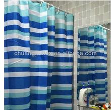 LUXURY FABRIC, PRINTED BLUEAND WHITE Horizontal Stripe DESIGN home goods shower curtain