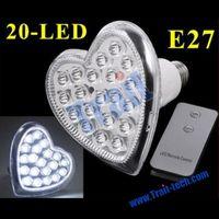 Heart Shaped E27 20 LED Cool White LED Cup Light Bulb Energy Saving Lamp Include Remote Control