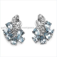 Sterling silver studs with blue topaz pear gemstones!!