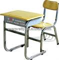 mobiliário escolar fixo única moldura de alumínio mesa do estudante e cadeira com prateleira de arame