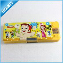 Promotion plastic cartoon pencil case with light inside