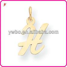 Unique design script initial H charm alphabet letter pendant