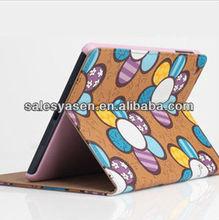 Flower flip black leather case for ipad mini