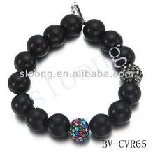 Black Stone Needle Beaded elastic bracelet men's jewelry