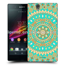 CUSTOM HEAD CASE TURQUOISE DREAM MANDALA DESIGN BACK CASE COVER FOR SONY XPERIA Z C6603