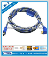 Hot sale right angle HDMI cable support 1080p 3D ethernet