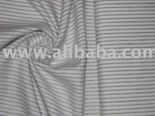 """Superb Quality Linen Club fabric~58"""" Width~White colour with navy blue horizontal stripes"""