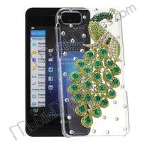 Fashion Bling Jewel Studded Peacock Crystal Case Transparent Hard Case for Blackberry Z10