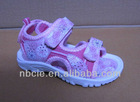DF-1309 folwers printed PU upper and PVC outsole pretty children sandals for summer