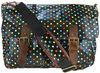Fashion Oilcloth Black Polka Dot Spot Cross Body Shoulder School Travel Bag Saddle