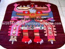 Woven wool Tapestry / Woven wool Rug / Woven wool Wall Decor Round 4 Feet Peru