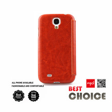 Premium leather wallet flip cover for samsung galaxy S4 for custom logo and wholesale