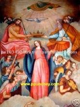 "Art Oil Painting ""Coronation of the Virgin"" 47x31"" Peru"