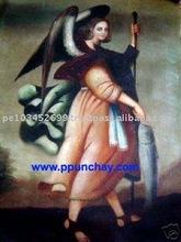 "Art Oil Painting ""Raphael Archangel"" 28x20"" Peru"