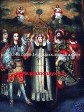 "Art Oil Painting ""Saint Rose of Lima"" 28x20"" Peru"