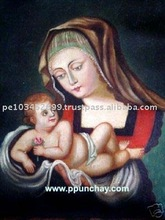 "Art Oil Painting ""Virgin Mary with Child"" 15x11"" Peru"