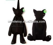 popular plush black cat shaped toy backpack