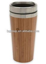 bpa free 400ml thermal Bamboo travel mug, stainless steel bamboo travel mug thermal,new bamboo coffee cup