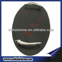 fancy design oval black slate dish