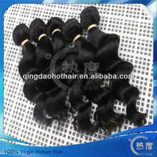 Factory wholesale! in stocking human hair, natural color Mogolian virgin hair extensions