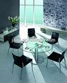 Moderno jc-11 colección redonda de vidrio superior mesa de comedor