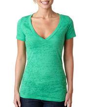 Ladies burnout deep v neck t-shirt