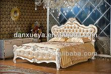 King size antique bedroom set solid wood white color leather bed BR-003#