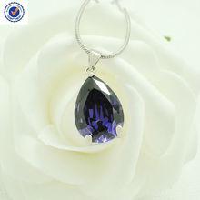 Lavender Necklace Copper Necklace Oval Purple Zircon Gemstone Zircon Pendant Copper chain DH02-V